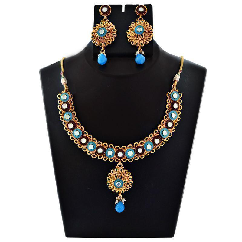 Bridal Mk Jewellers Gold Plated Kundan Necklace Set-40