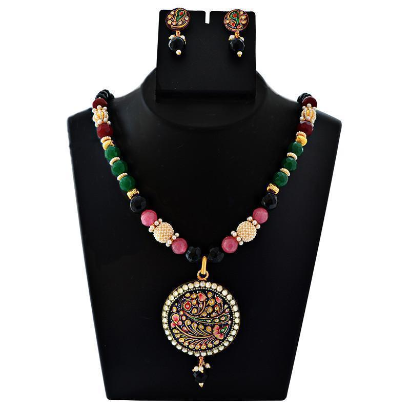 Mk Jewellers Kundan Meenakari Gold Plated Mughal Style Necklace Set-50