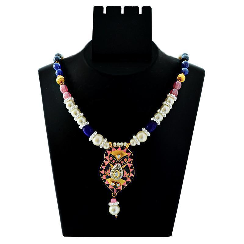 Mk Jewellers Fabulous Kundan Meenakari Necklace Set-55
