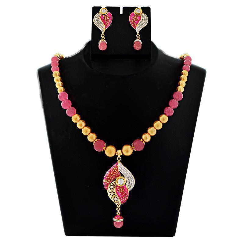 Mk Jewellers American Diamond Studed Meenakari Necklace Set-57