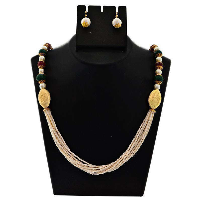 MK Jewellers White Pearl Chid Maala Necklace Set