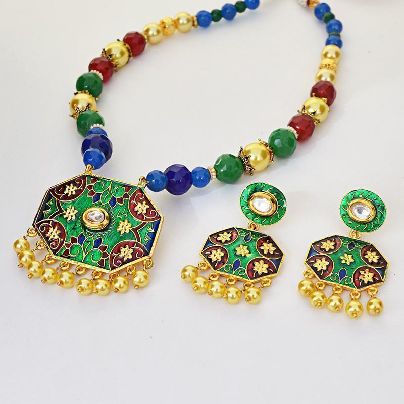 Designer Meenakari Kundan Gold Plated Floral Painted Brass Necklace Set For Women
