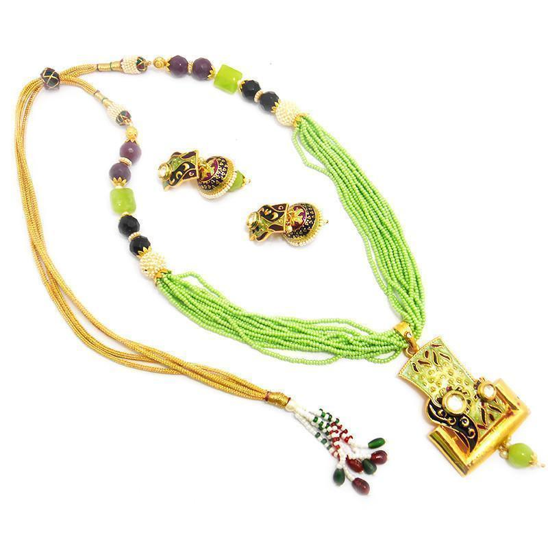 Green Extraordinary Kundan Chid Mala Necklace Set