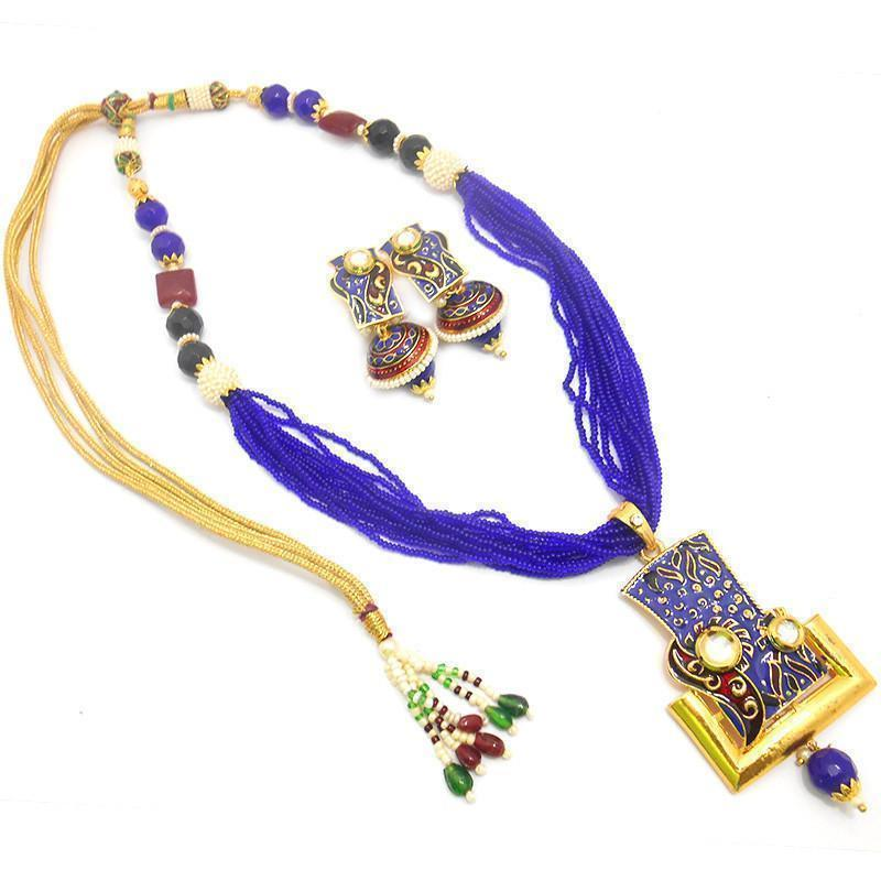 Blue Exquisite Kundan Chid Mala Necklace Set