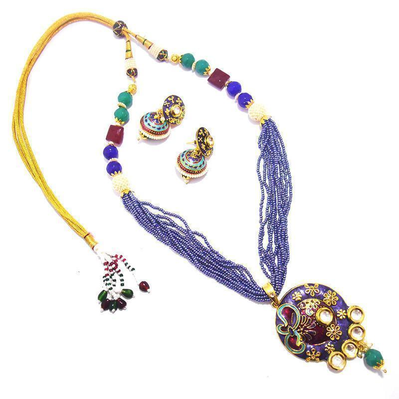 Blue Fashionable Kundan Chid Mala Necklace Set