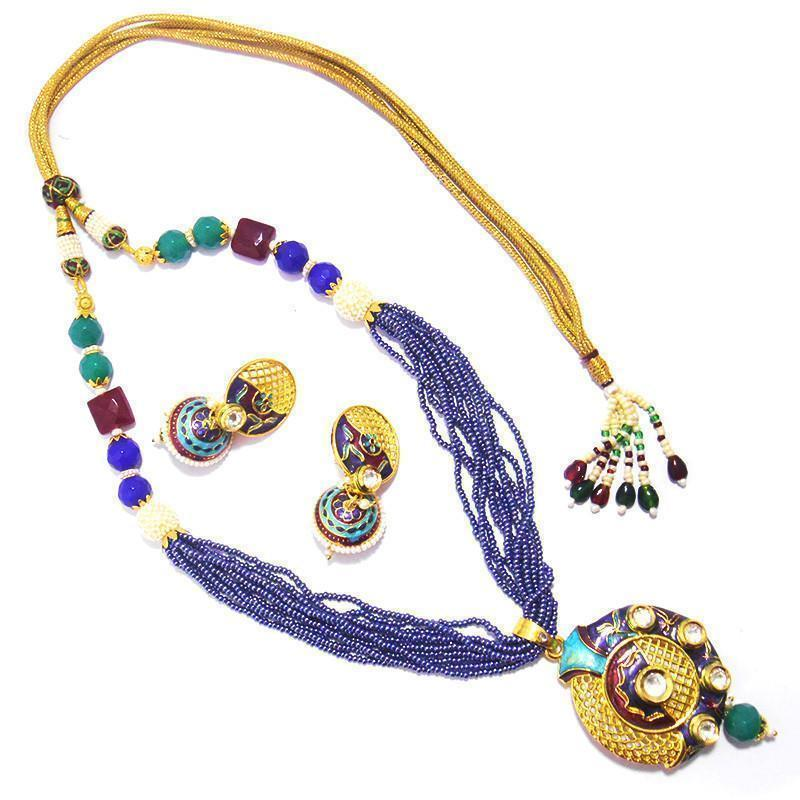 Blue Charming Kundan Chid Mala Necklace Set