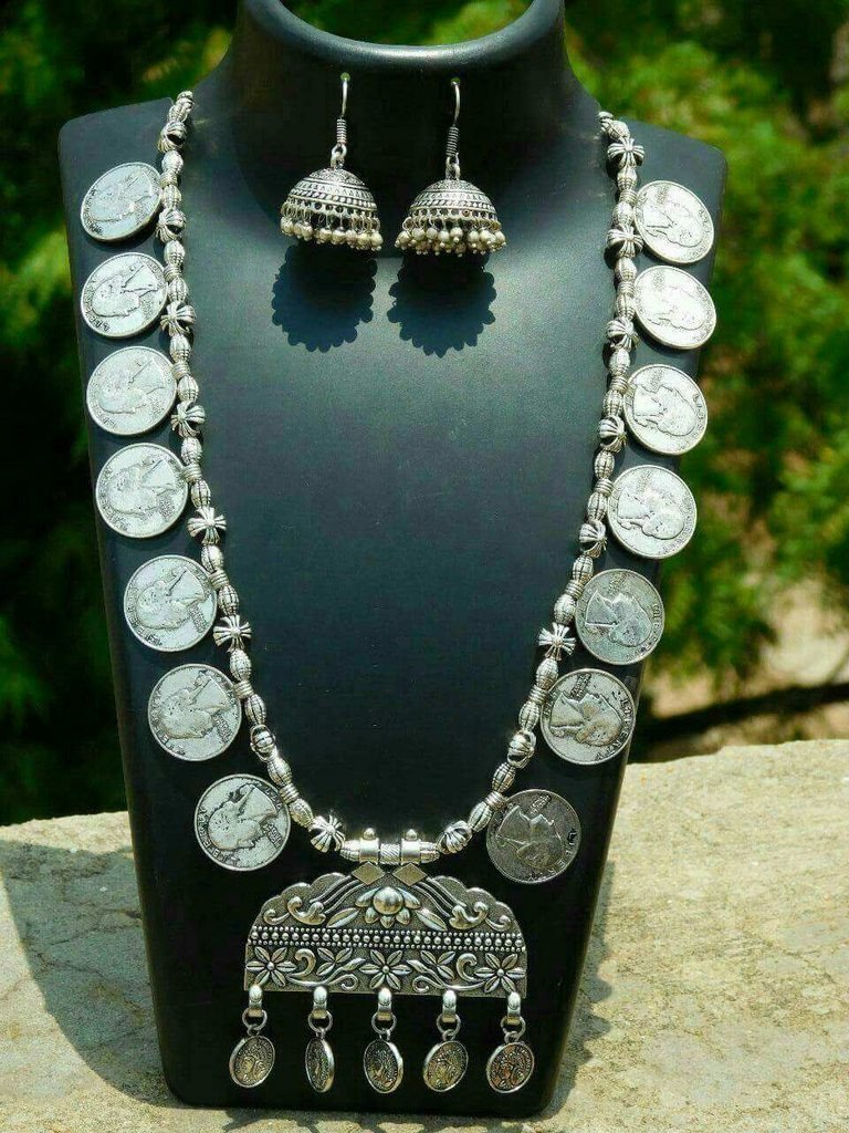Navaratri Oxidised German Silver Big Coin Necklace Set