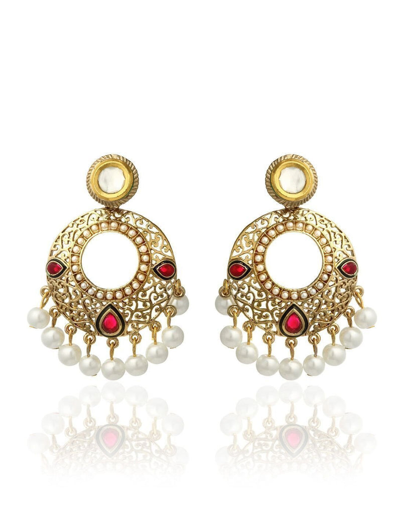 Zaveri Pearls Crescent Pearls Drop Earring