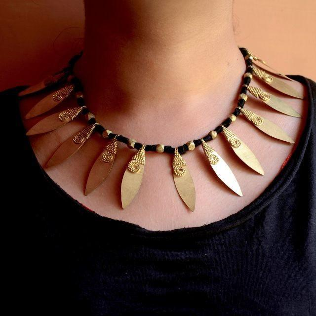Dhokra Tribal Necklace - Leaf Series