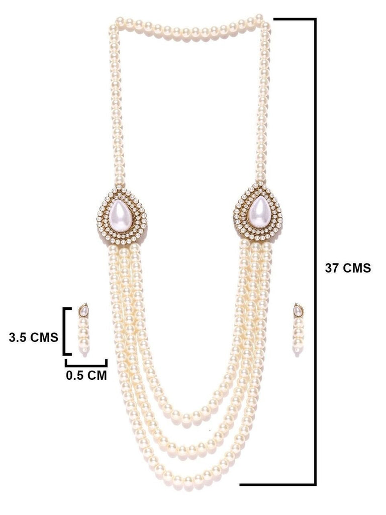 Zaveri Pearls Pearls White Multistrand Moti Rani Necklace Set