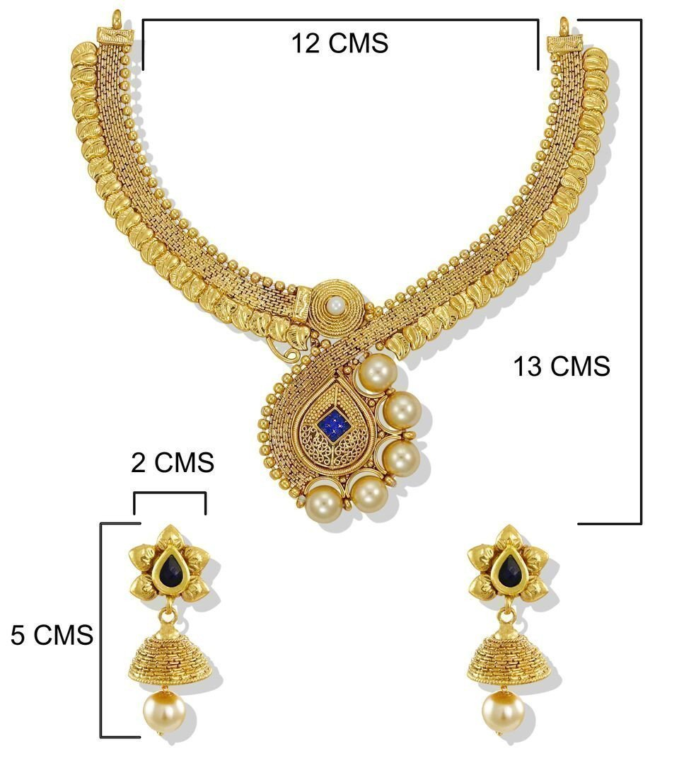 Zaveri Pearls Traditional Shiny Sheet Work Gold Plated With Pearl Necklace Set