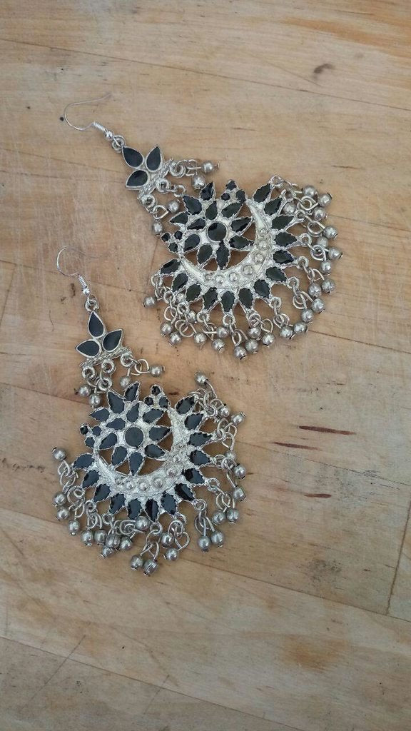 Oxidised German Silver Chandbali Black Color Earring