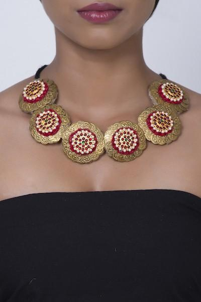 Ruby Red Pathakam Necklace