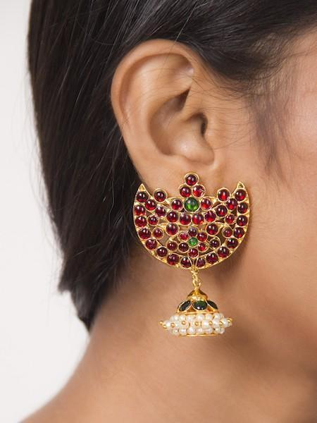 Half Moon Stud With A Jhumka