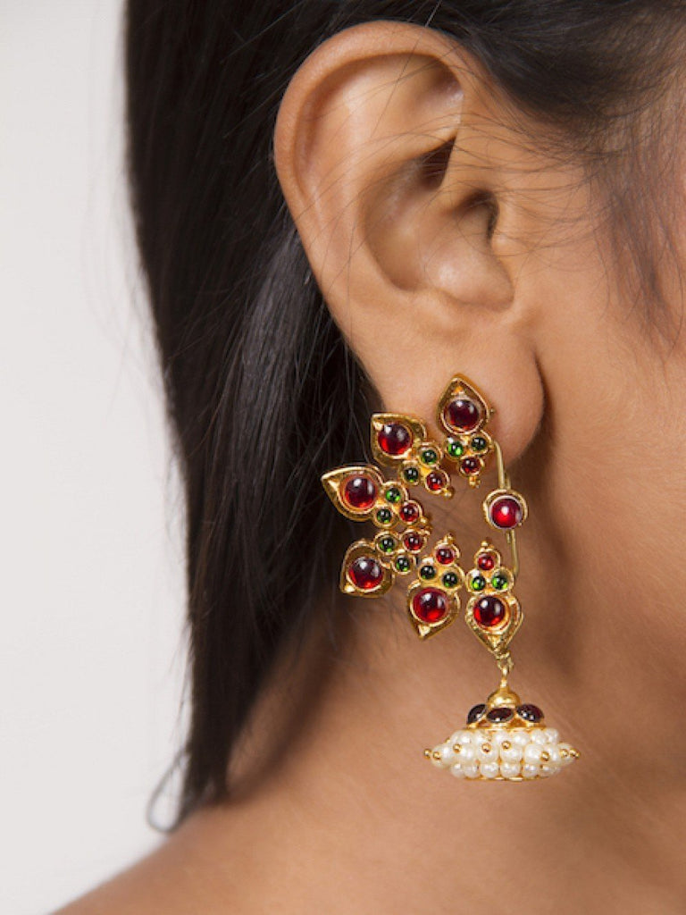 Temple Motifs With A Jhumka