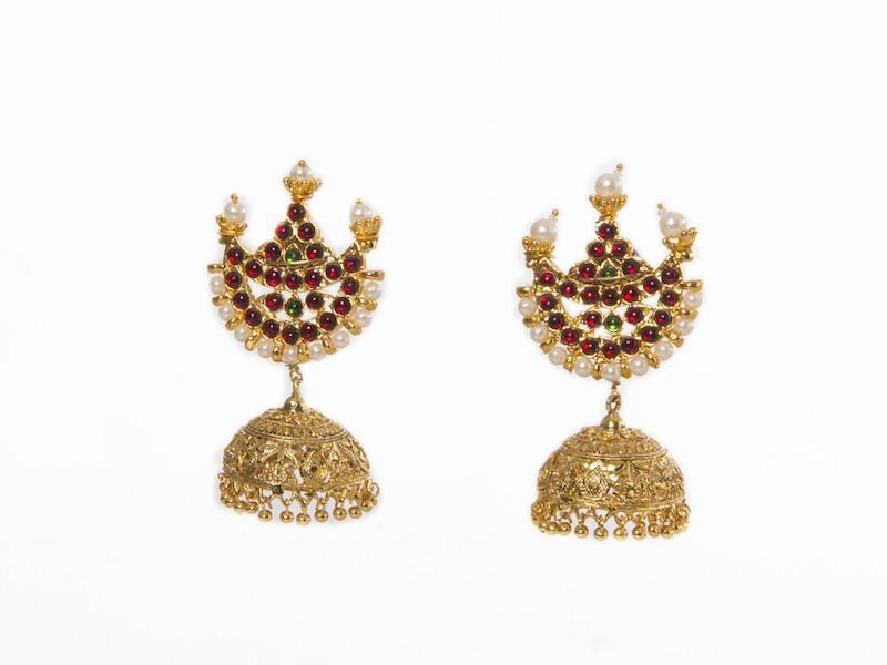 Chaand Stud With Muted Gold Jhumka Jumkey Fashion Jewellery