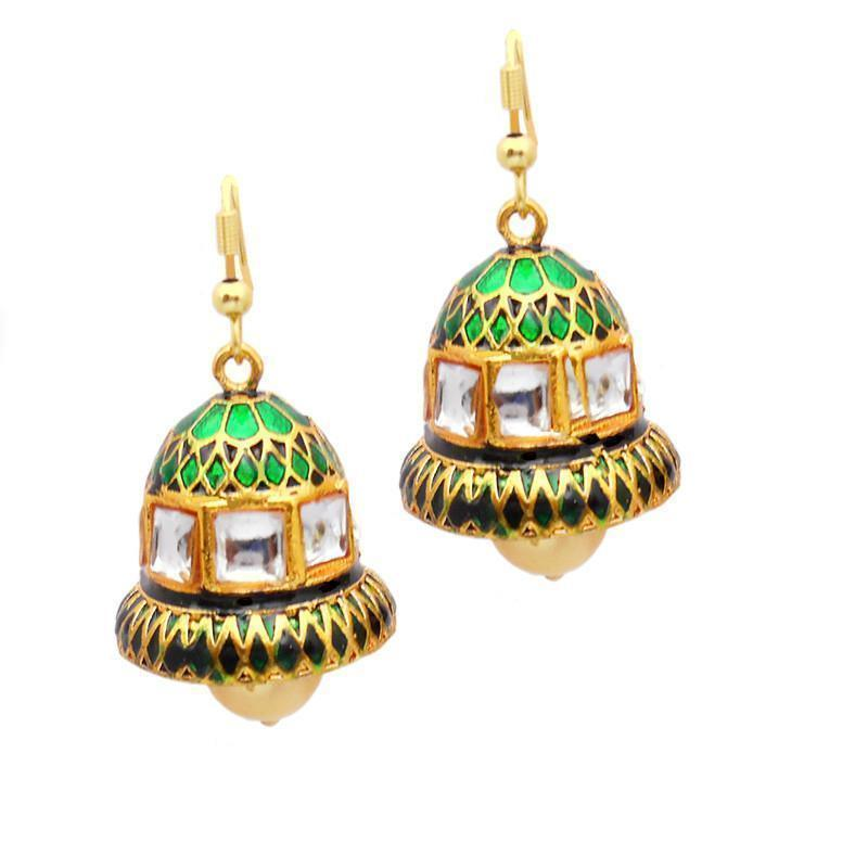 Multicolor  Meenakari Kundan Bell Shaped Jhumki Earring