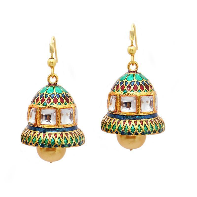 Traditional Meenakari Kundan Bell Shaped Jhumki Earring
