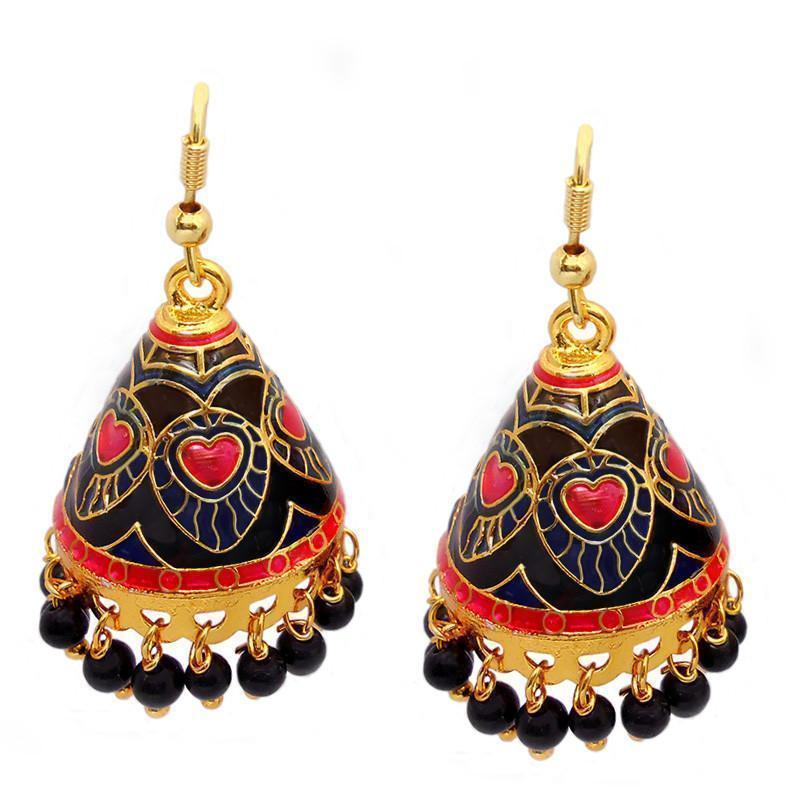 Designer Meenakari Kundan Cone Shaped Jhumki Earrings