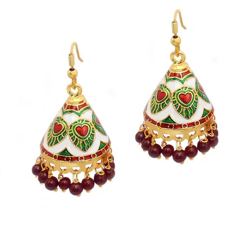 Elegant Meenakari Kundan Cone Shaped Jhumki Earrings