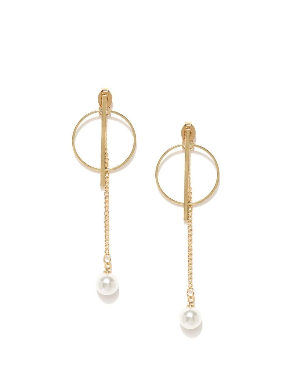 Round Gold Sterling Drop Earring