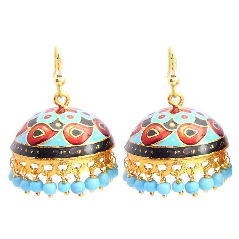 Meenakari Tokri Jhumki Earrings