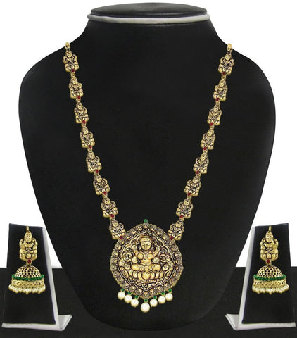 Zaveri Pearls Antique Look Traditional Temple Necklace Set