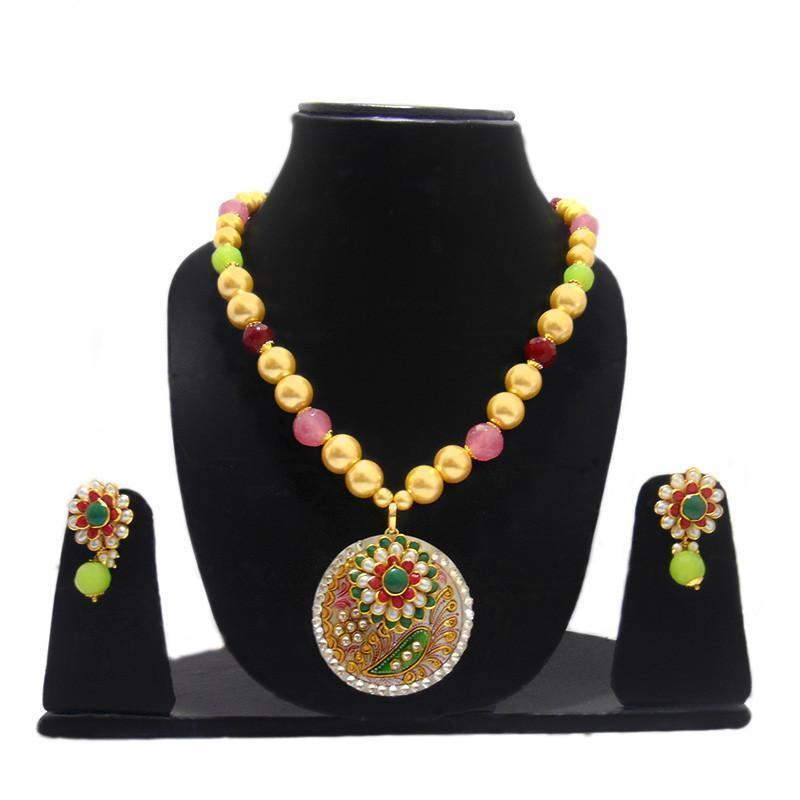 Multicolor Mother Of Pearl Necklace With Exclusive Pachi Work