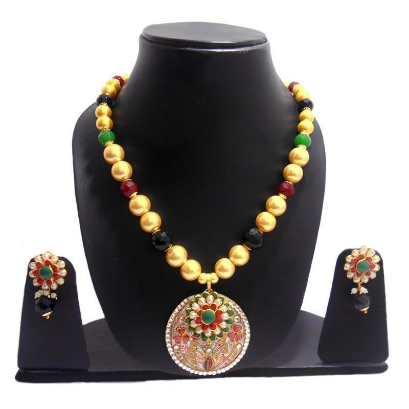 Beautiful Mother Of Pearl Necklace With  Exclusive Pachi  Work