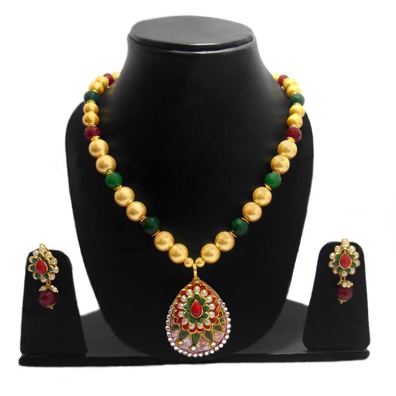 Traditional Mother Of Pearl Necklace With  Exclusive Pachi Work