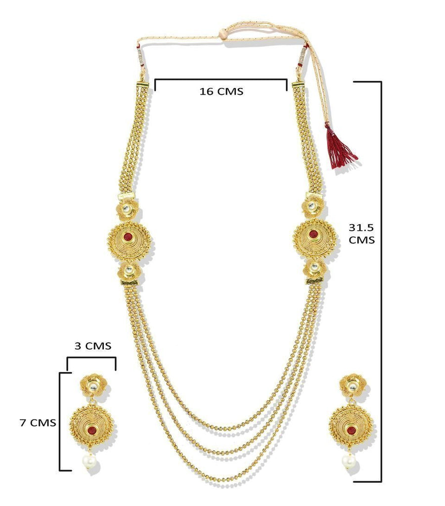 Zaveri Pearls Three Layered Two Sided Broach Necklace Set