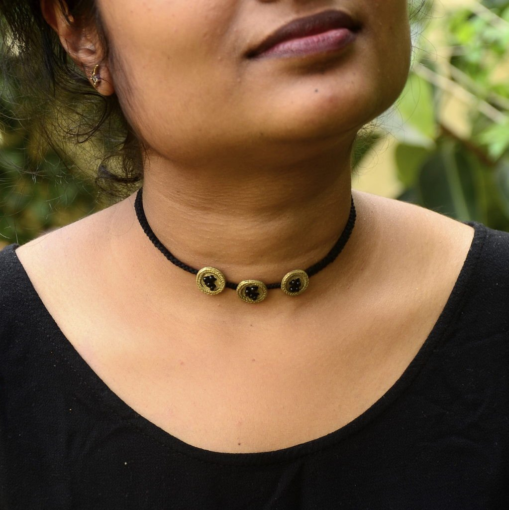 Dhokra Button Choker Necklace