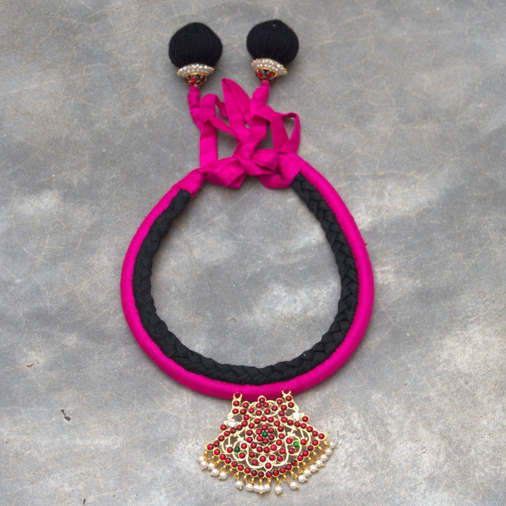 Pink & Black Color Contemporary Organic Silk Material Statement Necklace