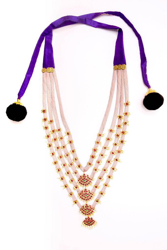 Pale Pink Color Amethyst Contemporary Temple Necklace