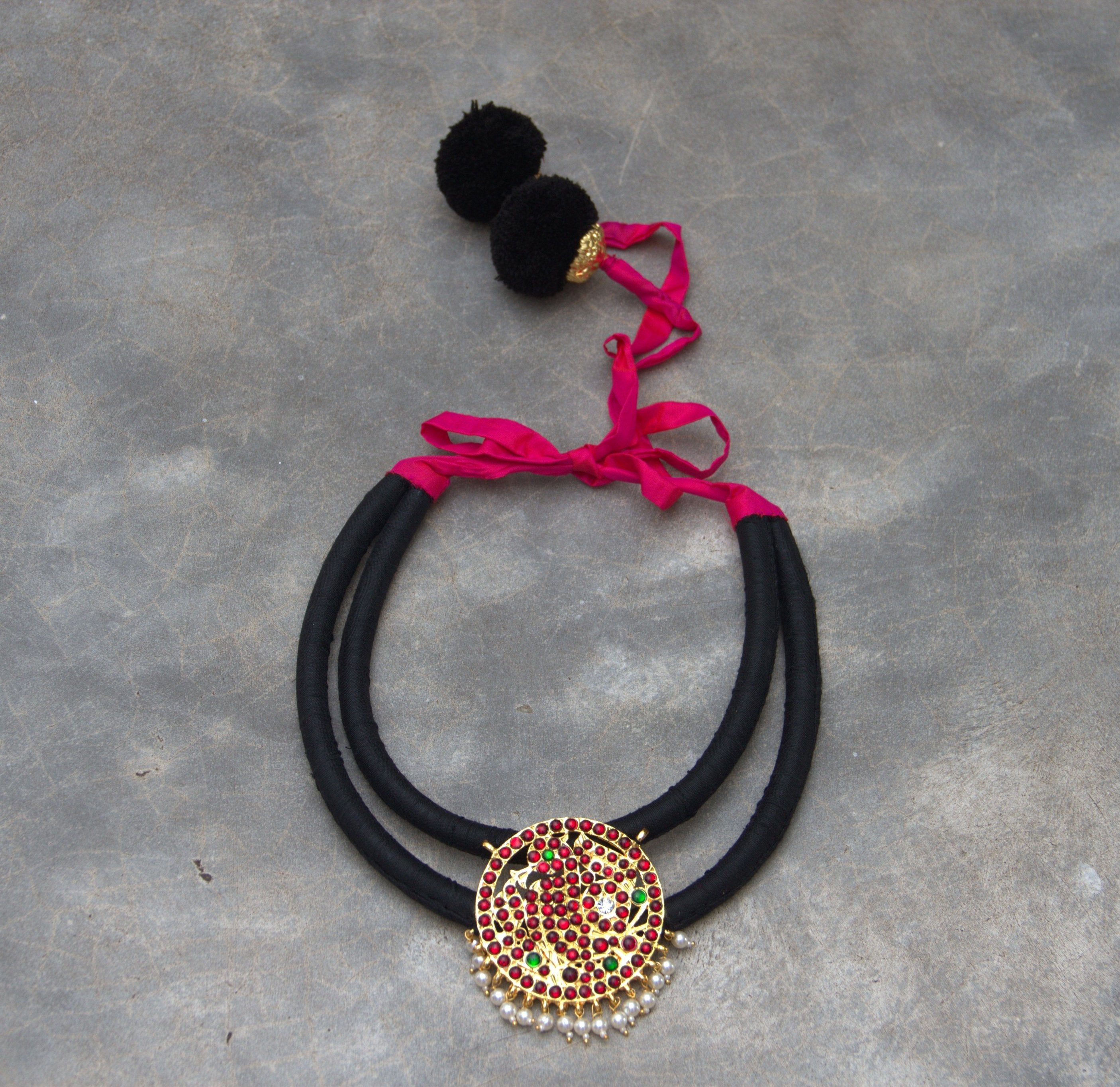 Black Color Contemporary Organic Silk Material Statement Necklace