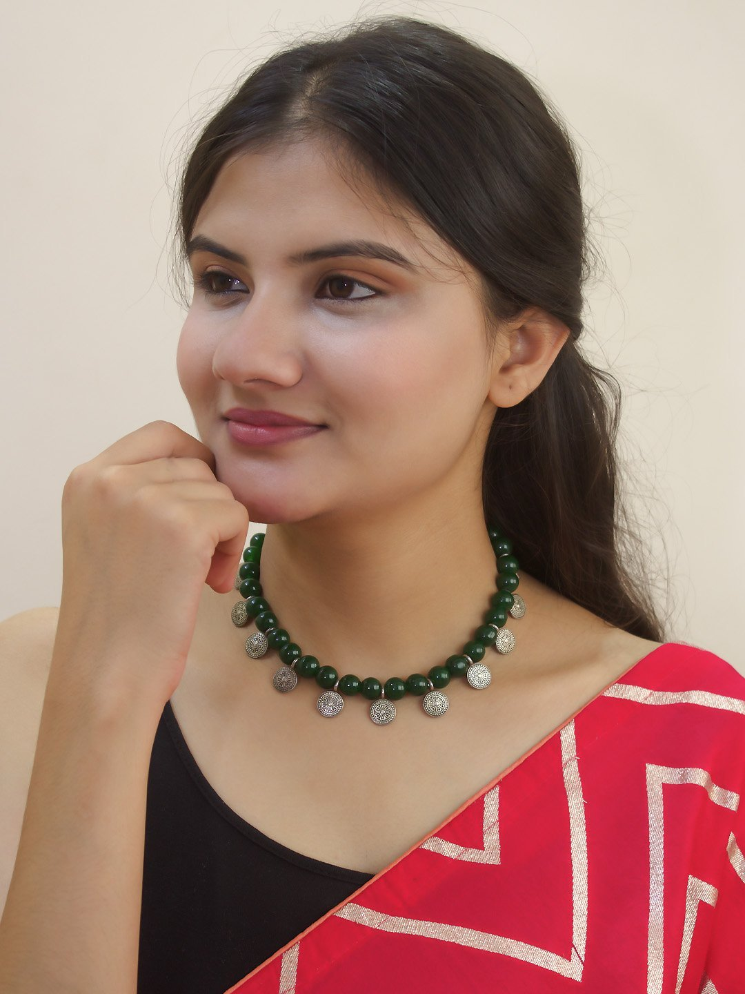 Nishna Designs Silver Plated Floral Design Coins With Green color Agate Beads Choker Necklace