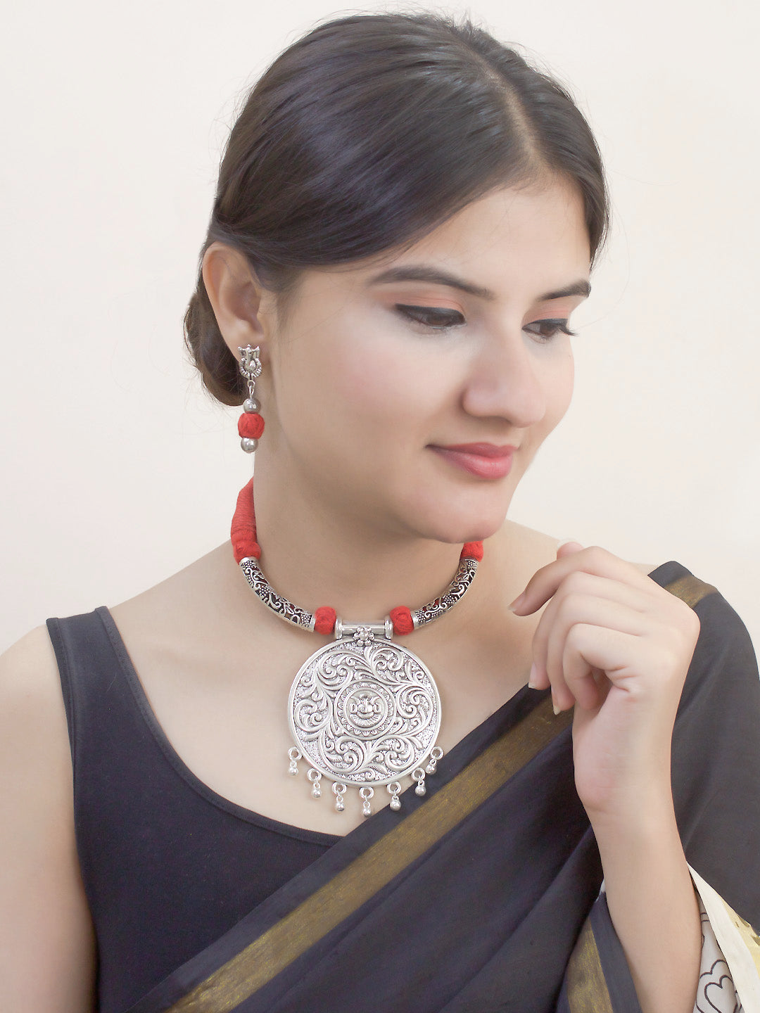 Oxidised Silver Temple Jewellery Big Ganesha Pendant Necklace Set By Nishna Designs