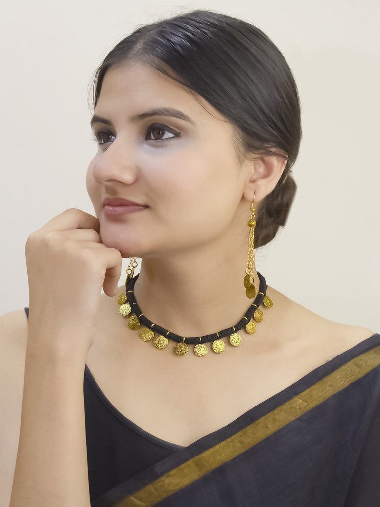 Gold Plated Floral Design With Black Color Thread Handmade Coin Necklace Set By Nishna Designs
