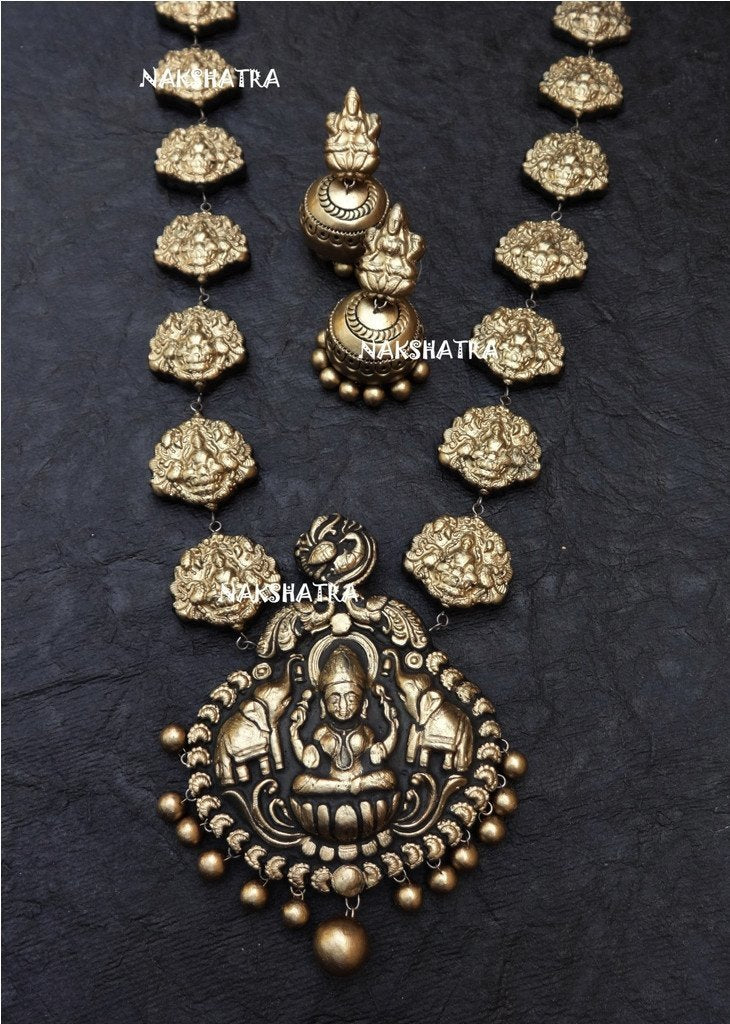Antique Gold Color Lakshmi Design Terracotta Temple Necklace Set