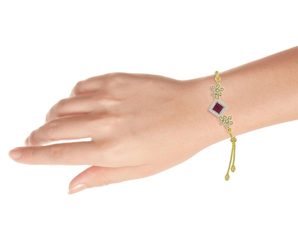Limited Edition Floral Pattern  Cz And Ruby Semi Precious Adjustable Bracelet By Zaveri Pearls