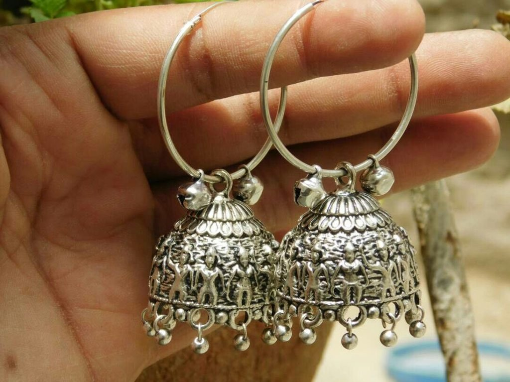 Oxidised German Silver Earring With Beads