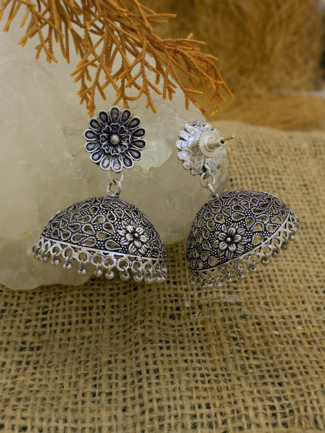 Oxidised German Silver Flower Design Big Jhumka Earring