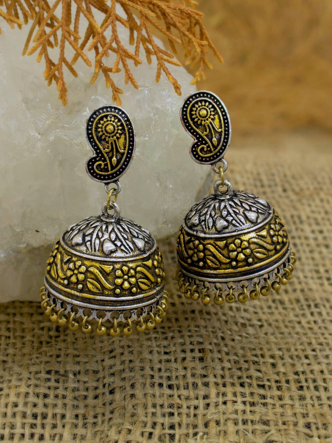 Oxidised German Silver Dual Plated Floral Design Jhumka Earring