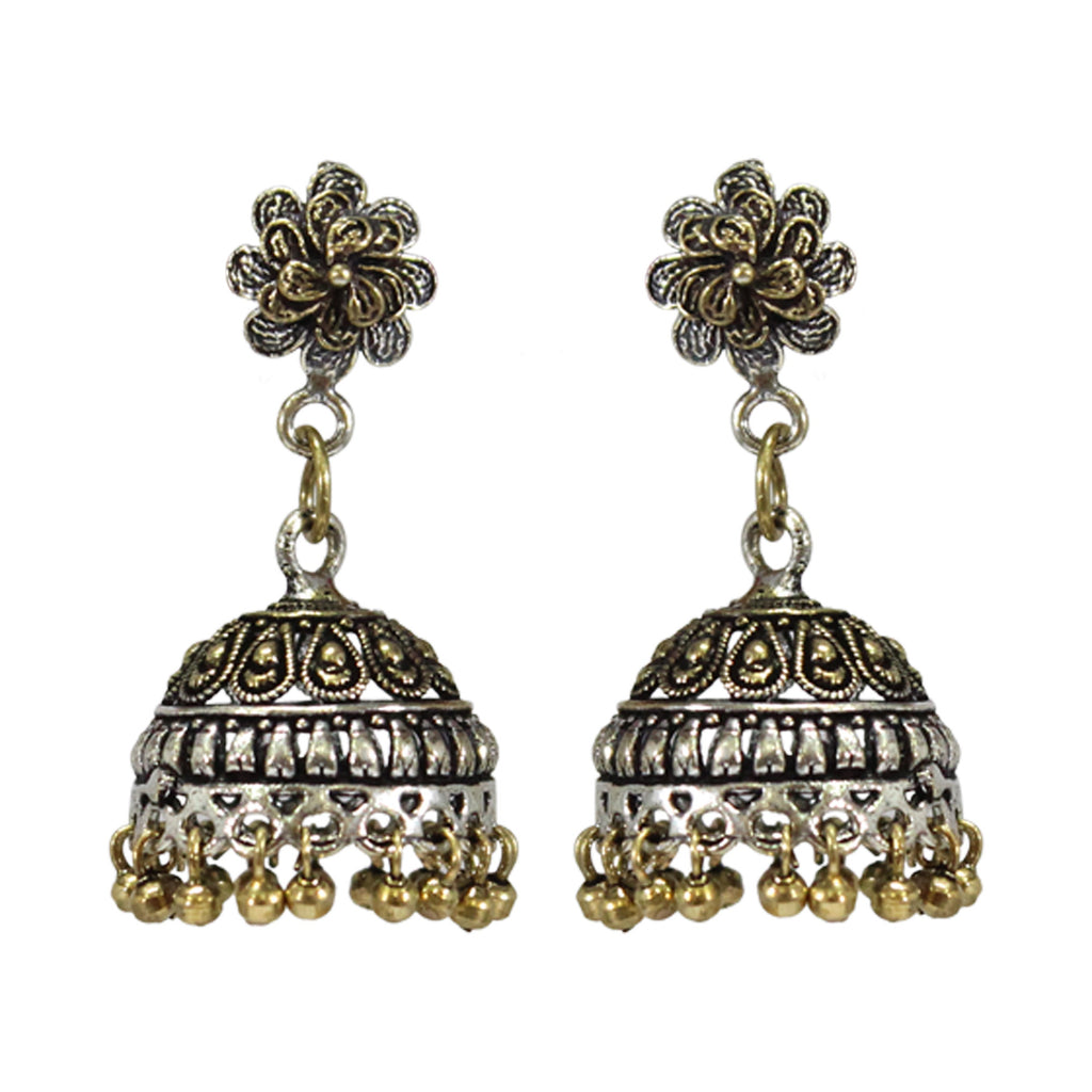 Oxidized Traditional Dual Tone Floral Design Stud Jhumka