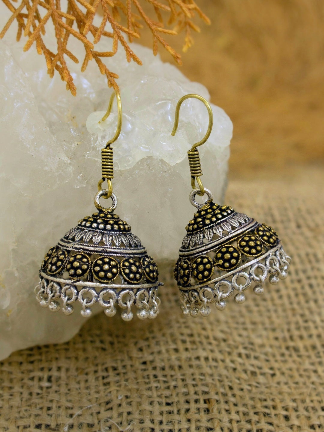 Oxidized Traditional Dual Tone Floral Design Hook Jhumka