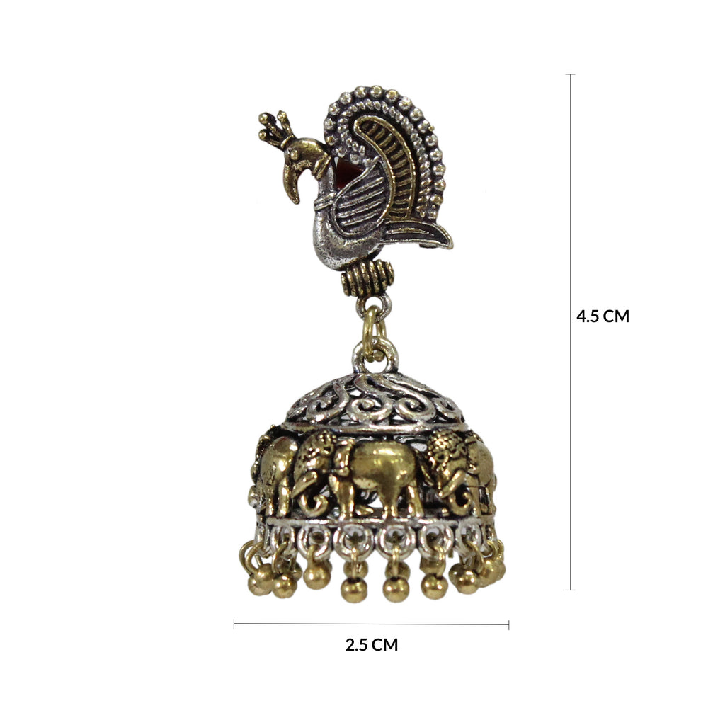 Oxidized Traditional Dual Tone Mayur & Elephant Design Stud Jhumka