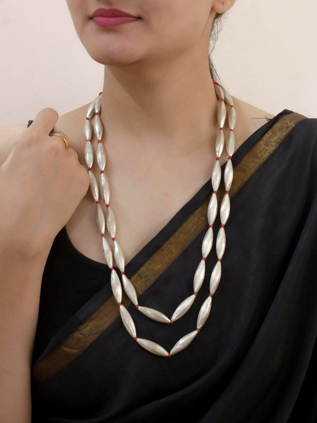 Silver color Two Layer Dholki Bead Necklace