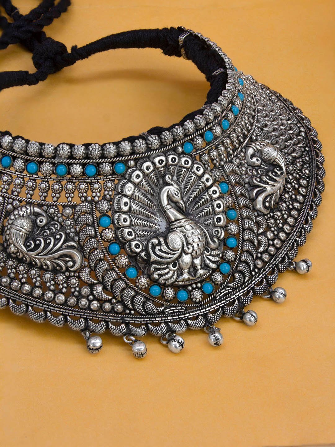Oxidised German Silver Peacock Design Statement Choker Necklace Set
