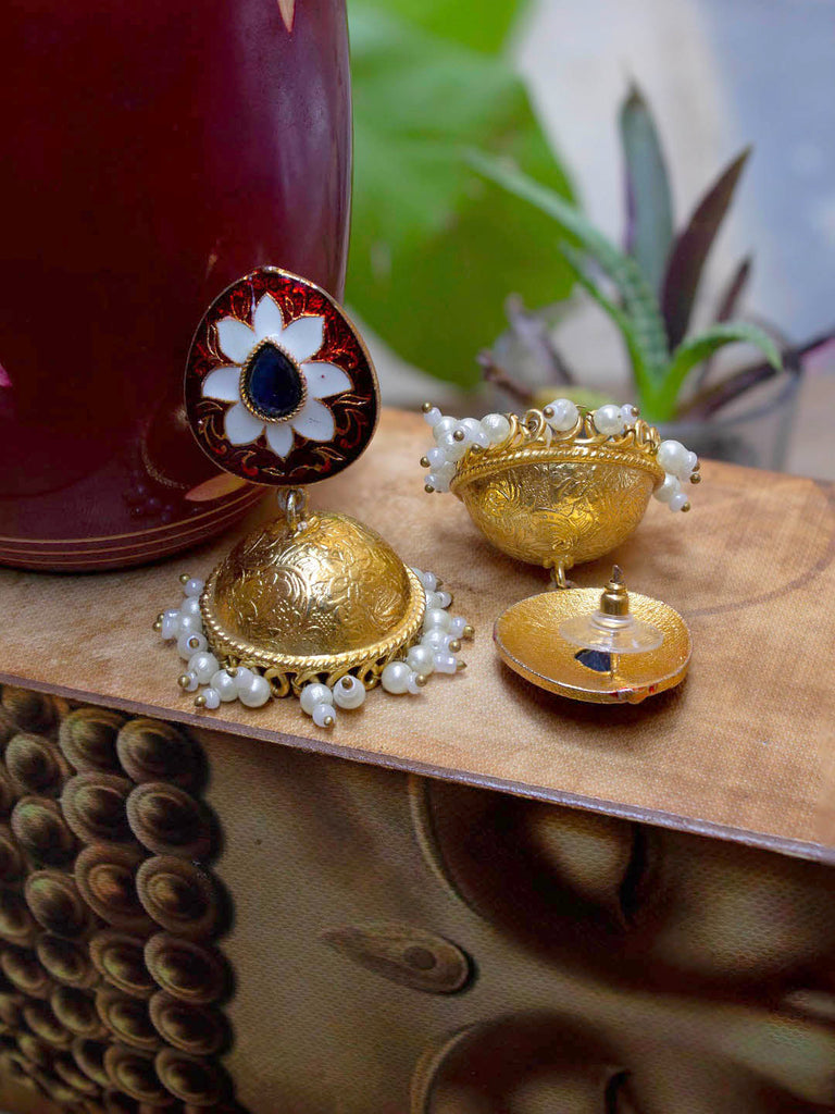 Oxidized Gold Plated Floral Design Red Color Enamel Painted With White Hanging Pearls Jhumka Earring