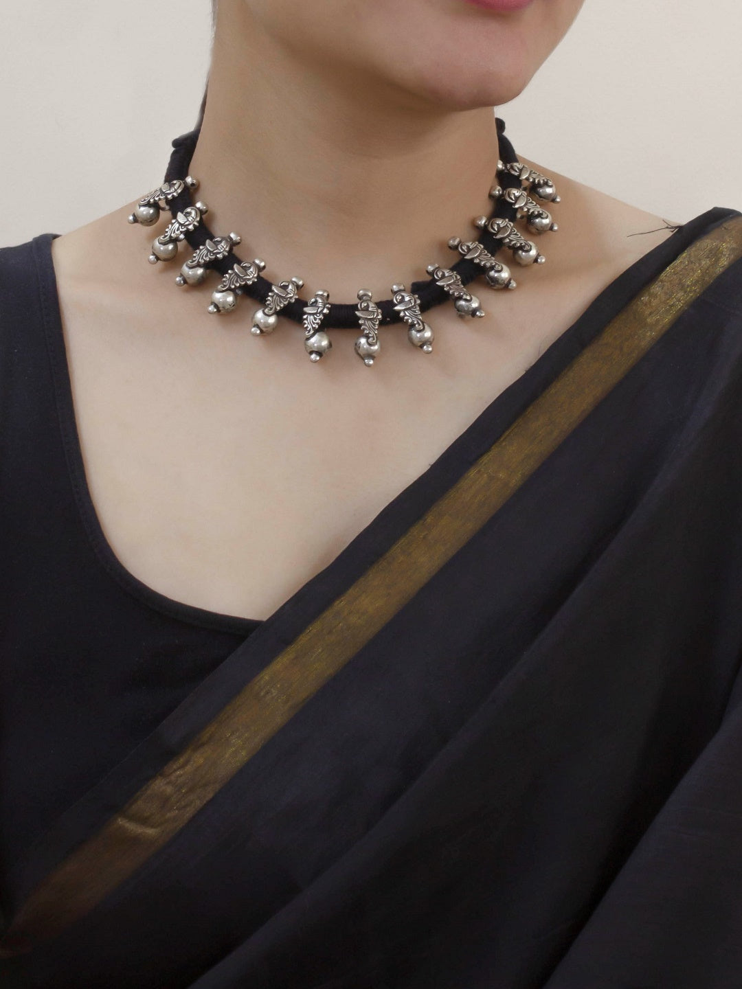 Oxidized Silver Plated Peacock Design Motifs With Black Color Dori Choker Necklace
